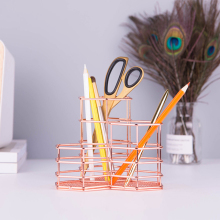 Pen Cup Holder For Desk Tidy Hexagon iron Hollow Makeup Brush Organizer Stationery Storage Container Pencil Marker Gel Pen