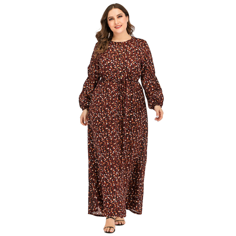 Plus Size Muslim Dress Abaya Women Kaftan Long Sleeve Loose Maxi Dresses Arab Robe Gown Jilbab Dubai Turkish Islamic Clothing