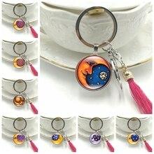 Hot! 2019 New Key Ring Creative Moon Goddess Glass Convex Round Pendant Stars Sun Key Chain Tassel Hanging Jewelry thailand imports genuine gv new moon key pendant