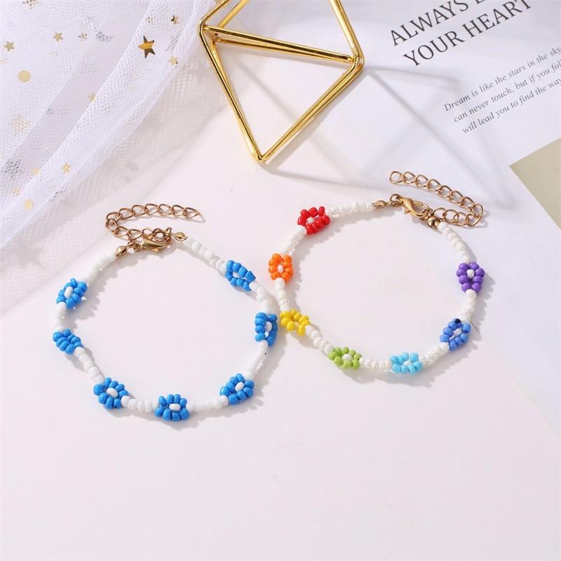 2021 New Cute Flower Beads Bracelets for Women Boho Colorful Beaded Charm Bracelets Bangles Fashion Summer Jewelry Giftd