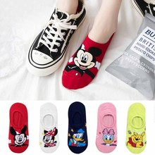 10 pieces = 5 pairs Korea Summer socks women Cartoon Animal bear mouse Socks Cute Funny Invisible cotton Ankle Socks Size 35-41 cheap Disney Thin (Summer) Low Cut CN(Origin) 5pcs Casual Polyester SMT-222 Size 35-40