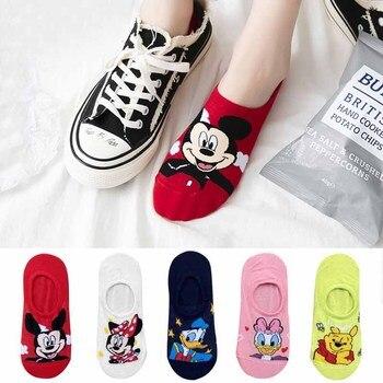 10 piezas = 5 pares Corea verano calcetines mujeres dibujos animados Animal oso calcetines del ratón lindo divertido Invisible algodón tobillo calcetines tamaño 35-41
