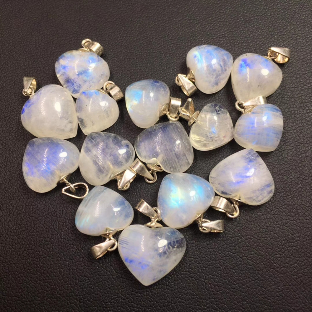 Natural Blue Light Moonstone Heart Pendant Neckalce For Woman Lady S925 Silver Quartz Crystal Luxury Neckalce Healing Crystal