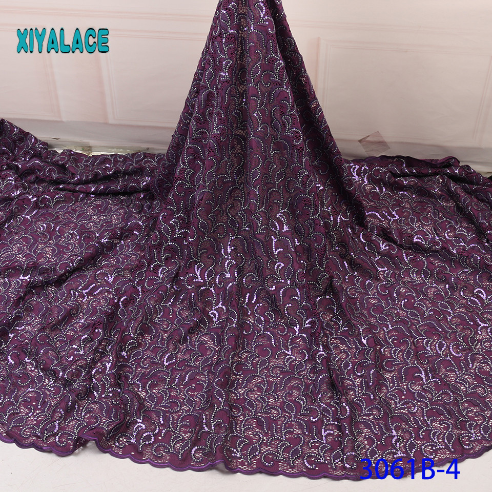 Purple African Lace Fabric Nigerian Laces 2019 High Quality Embroidery French Tulle Lace With Sequins For Bridal YA3061B-4