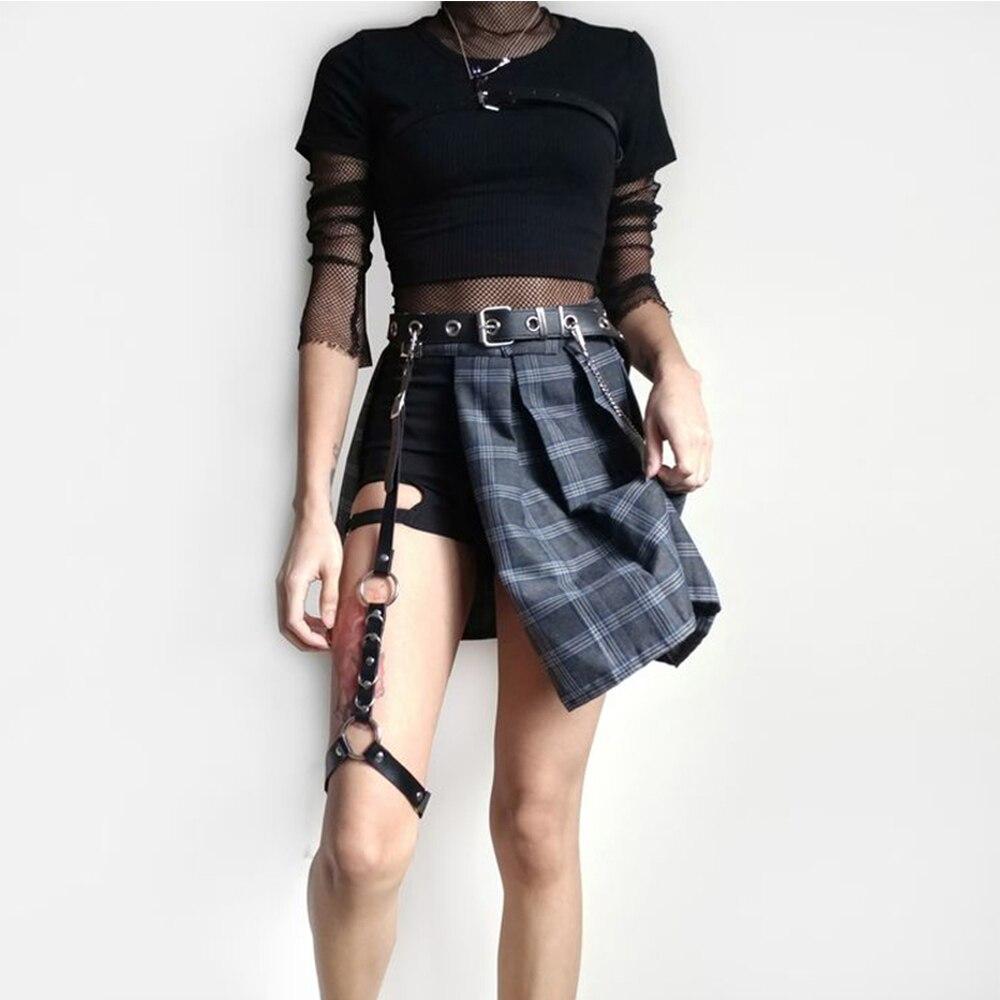 Street Style Women PU Punk Adjustable Leg Sock Suspender Stocking Clip Garter