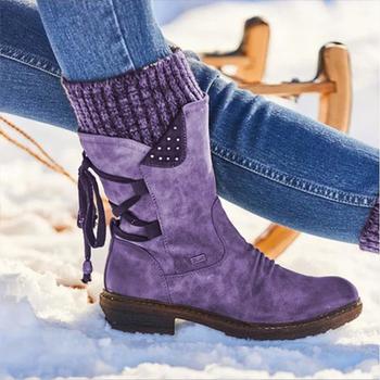 2020 damskie ciepłe buty zamszowe buty śniegowe kobiece buty zimowe 2019 zimowe buty damskie do połowy łydki damskie botki na platformie tanie i dobre opinie KAMUCC CN (pochodzenie) Wiązanej krzyżowe Patchwork SSL067 Dla dorosłych Kopyt obcasy Buty śniegu Cotton Fabric Okrągły nosek