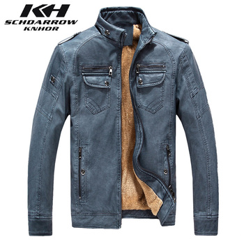 New Fashion Men PU Leather Jacket Stand Collar Man Winter Thicken Warm Casual Motorcycle Coat Jaqueta Masculinas Inverno Couro