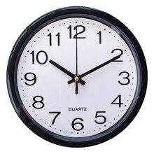 Пластиковые декоративные 8 дюймовые Современные Кварцевые бесшумные круглые часы для гостиной на батарейках для дома, точные модные настенные часы для офиса