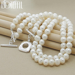 DOTEFFIL 8mm Double White Natural Pearls Chain Necklace 925 Sterling Silver For Women Wedding Engagement Fashion Charm Jewelry