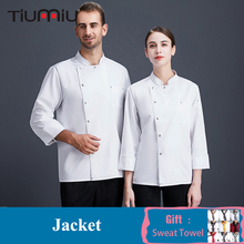 Chef Coat Uniform Men Women Long Sleeve Cook Jacket Restaurant Kitchen Catering Service Hotel Cafe Bakery Barber Shop Uniform