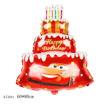 McQueen car cake aluminum foil balloon large cartoon car cake birthday arrangements for children image
