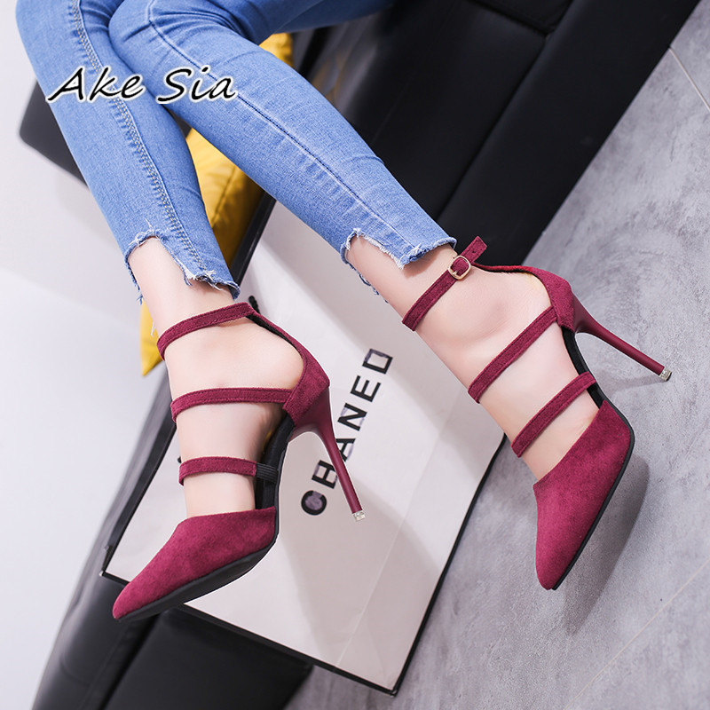 2019 Spring States New Pointed High-heeled Shoes With Shallow Mouth Buckle Female Shoes Suede Straps Single Shoes S079