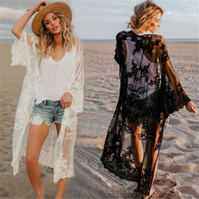 Sexy Transparent Mesh Lace Beach Wear Long Cardigan Plus Size Cover Up Women Summer Swim Bikini Pareo Sarong Shirt