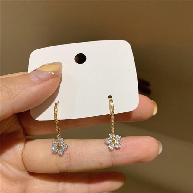 MENGJIQIAO Korean Elegant Zircon Flower Hoop Earrings For Women Girls Fashion Metal Chain Boucle D'oreille Oorbellen Jewelry 4