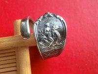925 sterling silver Aquarius Auspicious Silver Spoon Live Ring
