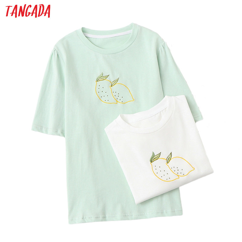 Tangada Women Embroidery Oversized Cotton T Shirt Short Sleeve O Neck Tees Ladies Casual Tee Shirt Street Wear Top BAO23