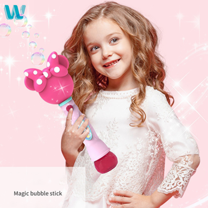 WINCOTEK Kids Magic Wand Bubble Gun Blower Toy Electric Magic Automatic Soap Bubble Machine Light Music Outdoor Toy For Children