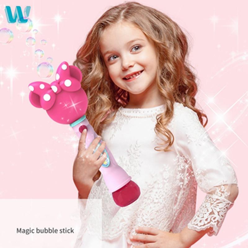 WINCOTEK Kids Magic Wand Bubble Gun Blower Toy Electric Magic Automatic Soap Bubble Machine Light Music Outdoor Toy For Children