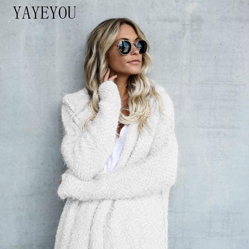 YAYEYOU 2020 Autumn Winter Sweater Women Hooded Cardigan Wool Coat Oversized Sweater Plus Size