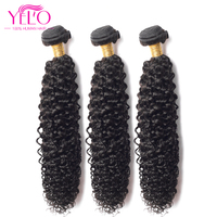YELO Brazilian Virgin Hair Weave Bundles Kinky Curly 3pcs/Lot 100% Human Hair 8 30 inch Hair Extensions Natural Color