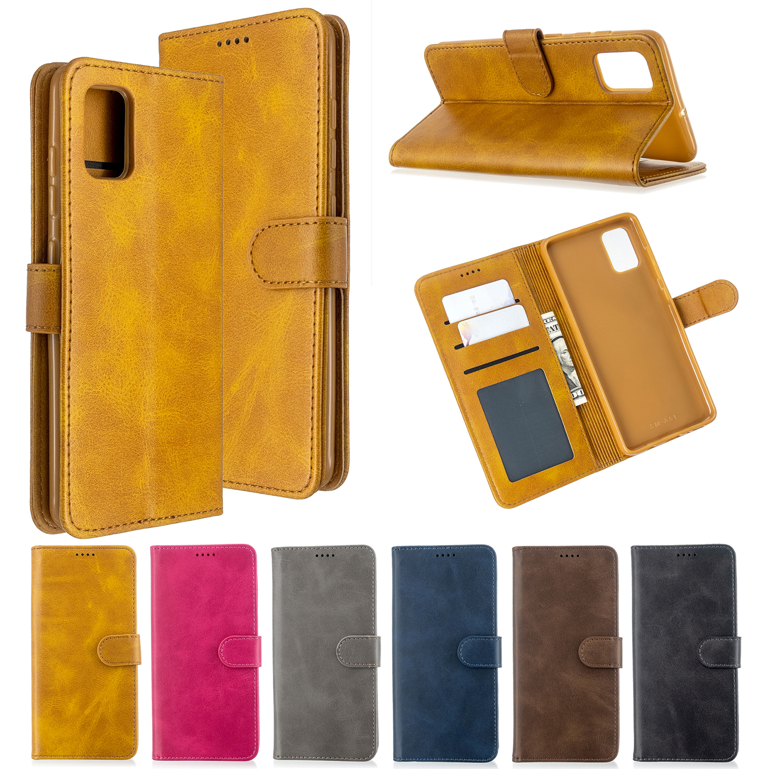 Luxury Leather Case For Samsung A51 A50 A70 A40 A10 A6 A7 A9 2018 Flip Wallet Case Funda For Galaxy J4 J6 Plus J3 J5 J7 Coque image