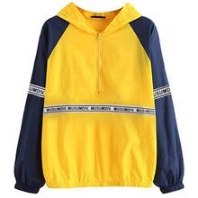 2019 Women Autumn Sweatshirt Long Sleeve Hooded Pullover Tops Blouse Letter Print Hoodies