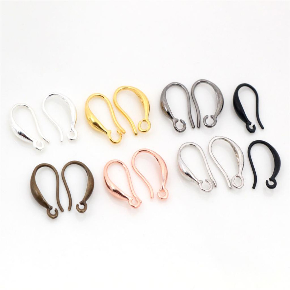 High Quality 15x9mm 20pcs Classic 7 Colors Plated Brass French Earring Hooks Wire Settings Base Settings Whole Sale