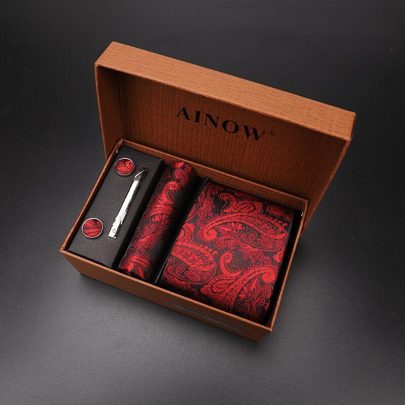 necktie set 4 pcs men floral neck tie plaid tie gift Wedding Red Striped 8cm Navy Blue Jacquard Woven black Solid Camouflage box