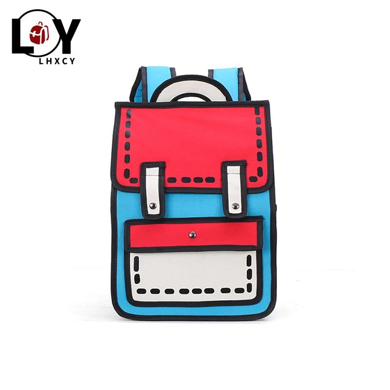 Fashion Women Backpack Creative 2d Travel Drawing Backpacks 3d Jump Style Cartoon School Bag Tote Cute Student Unisex Knapsack