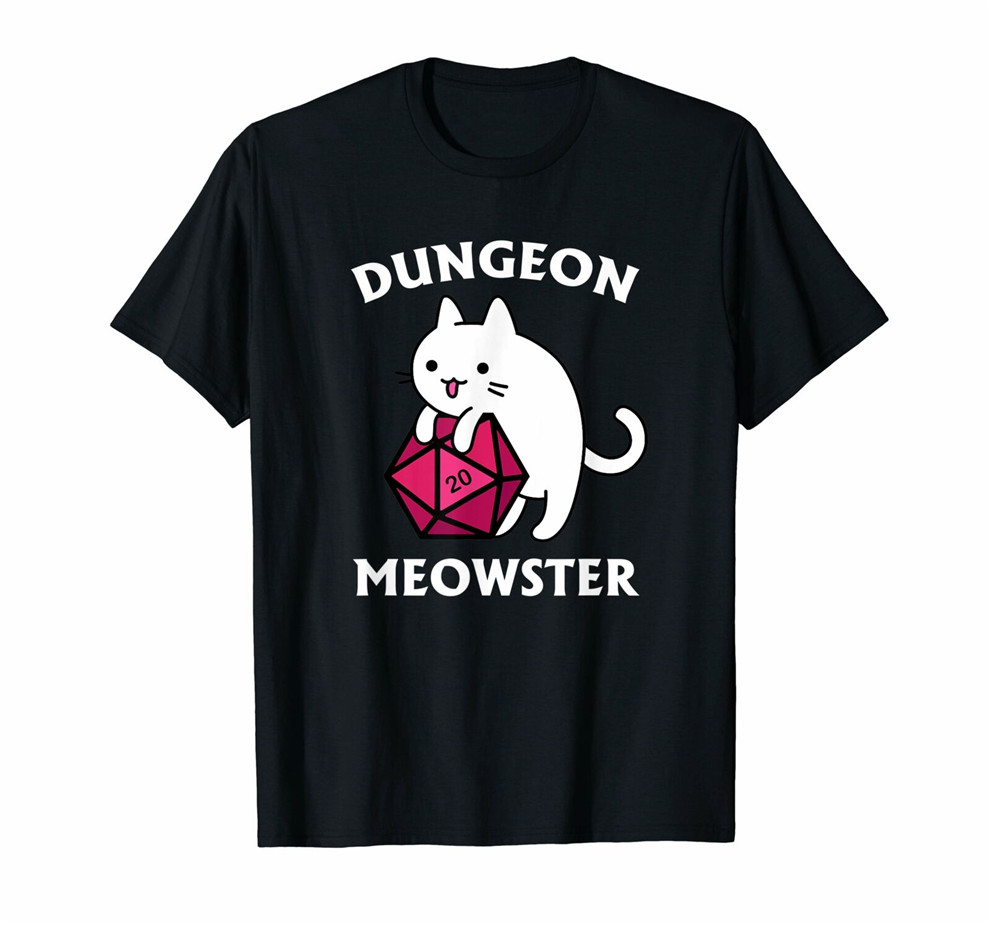 Dungeon Meowster Funny Dnd Tabletop Gamer Cat D20 Tshirt New Fashion Tee Shirt