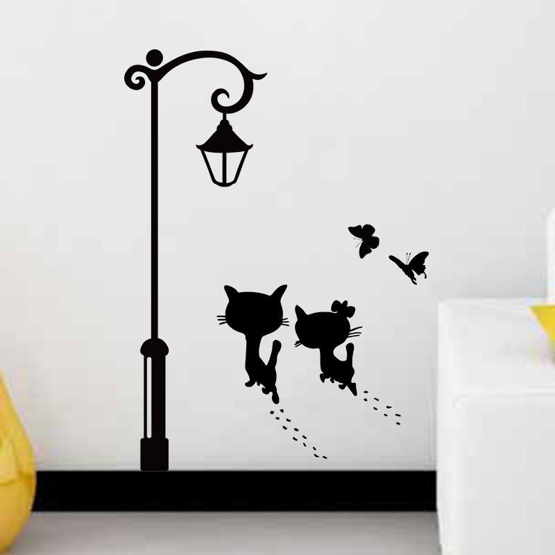 New Sweet Couple Cat Wall Stickers, Living Room Wall Decals