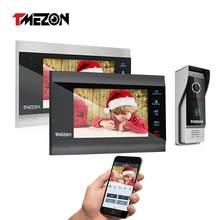 TMEZON 7 Cal bezprzewodowy Wifi inteligentny IP wideo domofon domofon telefoniczny System z 2 Night Vision Monitor + 1, odporny na deszcz, dzwonek aparatu