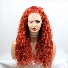Natural Hairline Red Orange Curly Lace Front Wig for Women Long Natural Synthetic Hair Replacement Heat Resistant Synthetic Wigs(China)