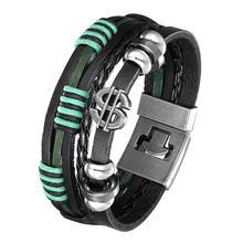 цена на 2020 Lucky Men's Vintage Leather Bracelet Men's Alloy Dollar Sign Multilayer Woven Women's Pulseira Masculina Jewelry Gift