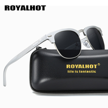 RoyalHot Polarized Sunglasses Men Women Aluminum Magnesium Half Frame Driving Sun Glasses Shades Oculos Male 90089