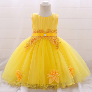 Baby Girl Clothes Flower Bow Lace for 1 Years Dress Kids Girls Birthday Toddler Birthday Party Princess Baptism Dress L1871XZ