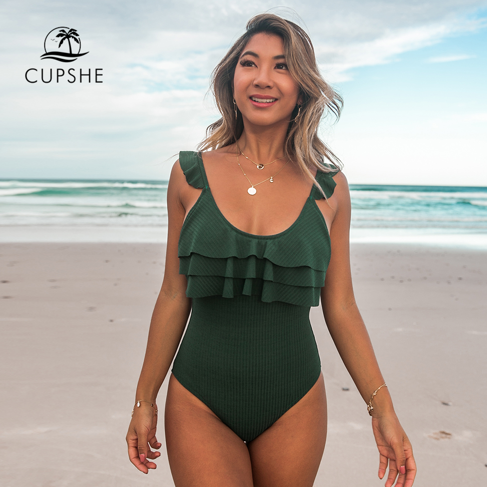 CUPSHE Dark Green Ruffle One-piece Swimsuit Women Solid Beach Bathing Suit Monokini 2020 Girl Sexy Swimwear