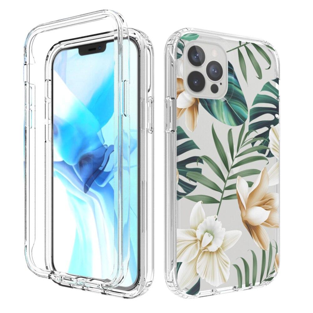 Противоударный чехол для телефона Huawei P40 Pro P30 P20 Lite с милым цветком в виде листьев, прозрачная задняя крышка, двойной слой, прочный бампер, чех...