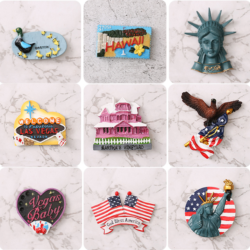 American Fridge Magnet Resin Tourist Souvenir Magnet Stick New York Las Vegas Liberty Goddess Eagle Flag Hawaii image