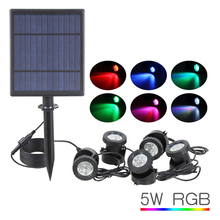 цена на Solar RGB LED Spot Lights Sensor Waterproof Underwater Lamp Aquarium Spotlight for Swimming Pool Fountains Pond Water Garden