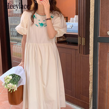 Apricot Vintage Embroidery Florals Chic 2021 Streetwear Puff Sleeves Femme Hot Slim Party Women Long Dresses Vestidos