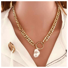 цена на TOTABC New Punk Chain Necklace for Women With Golden Padlock Pearl Pendant Necklace Fashion Women Jewelry