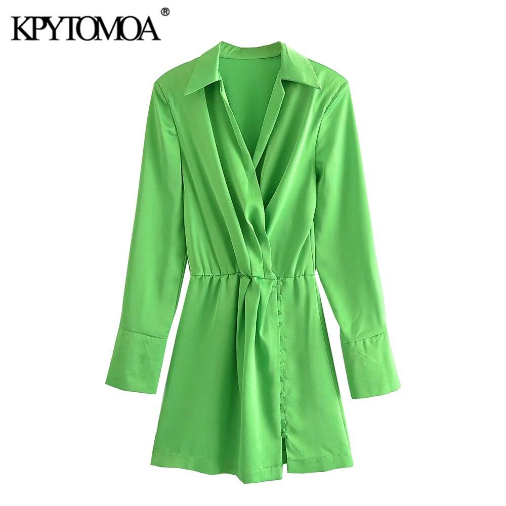 KPYTOMOA женское 2021 шикарное модное Плиссированное уютное мини платье-рубашка с длинным рукавом и боковыми пуговицами женские платья Mujer