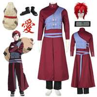 Naruto Shippuden Gaara Cosplay Costume Red Coat Tailor Made Blue vest Halloween costumes