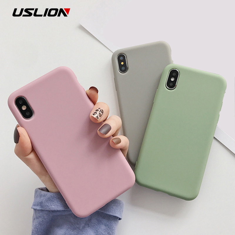 USLION Candy Color Phone Case For IPhone XS 11 Pro Max XR XS Max X Plain Silicone Cover For IPhone 6 6S 7 8 Plus Soft TPU Case