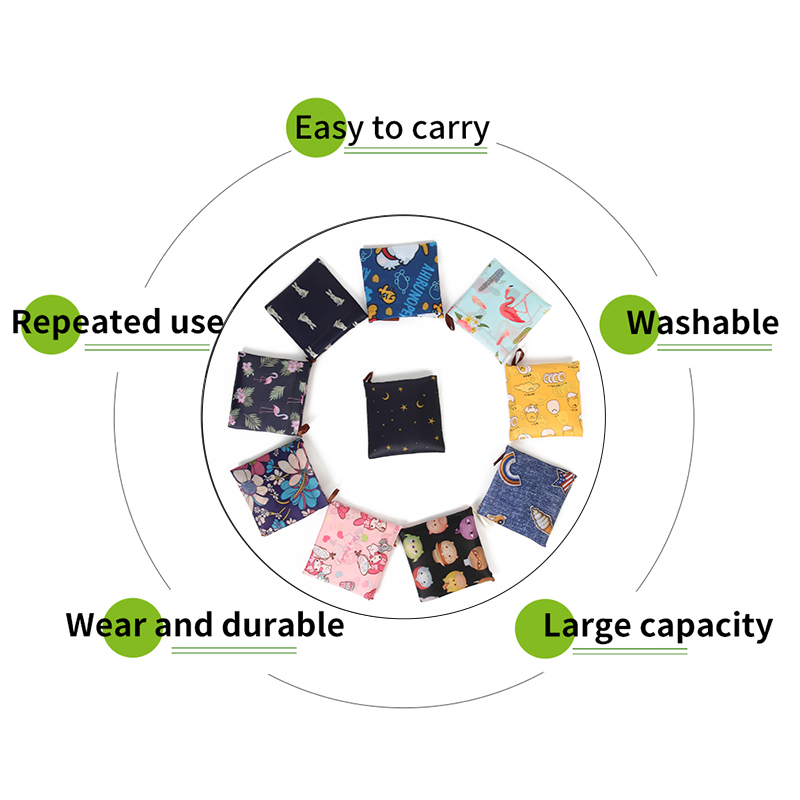 Reusable Eco-Friendly Grocery Foldable Shopping Bags Small Size Premium Quality Slight Duty Folding Tote Bag With Handle 5