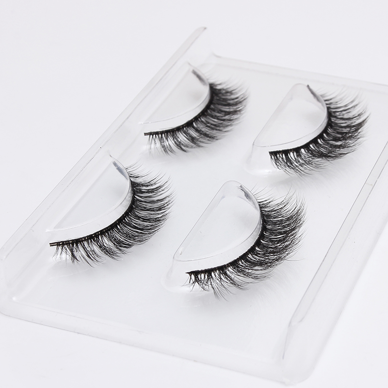 Pansly <font><b>2</b></font> <font><b>Pairs</b></font> Sztuczne Rzesy Artificial Mink Private Label False <font><b>EyeLashes</b></font> 3D Natural Cross Dense Reusable Fake Lashes image