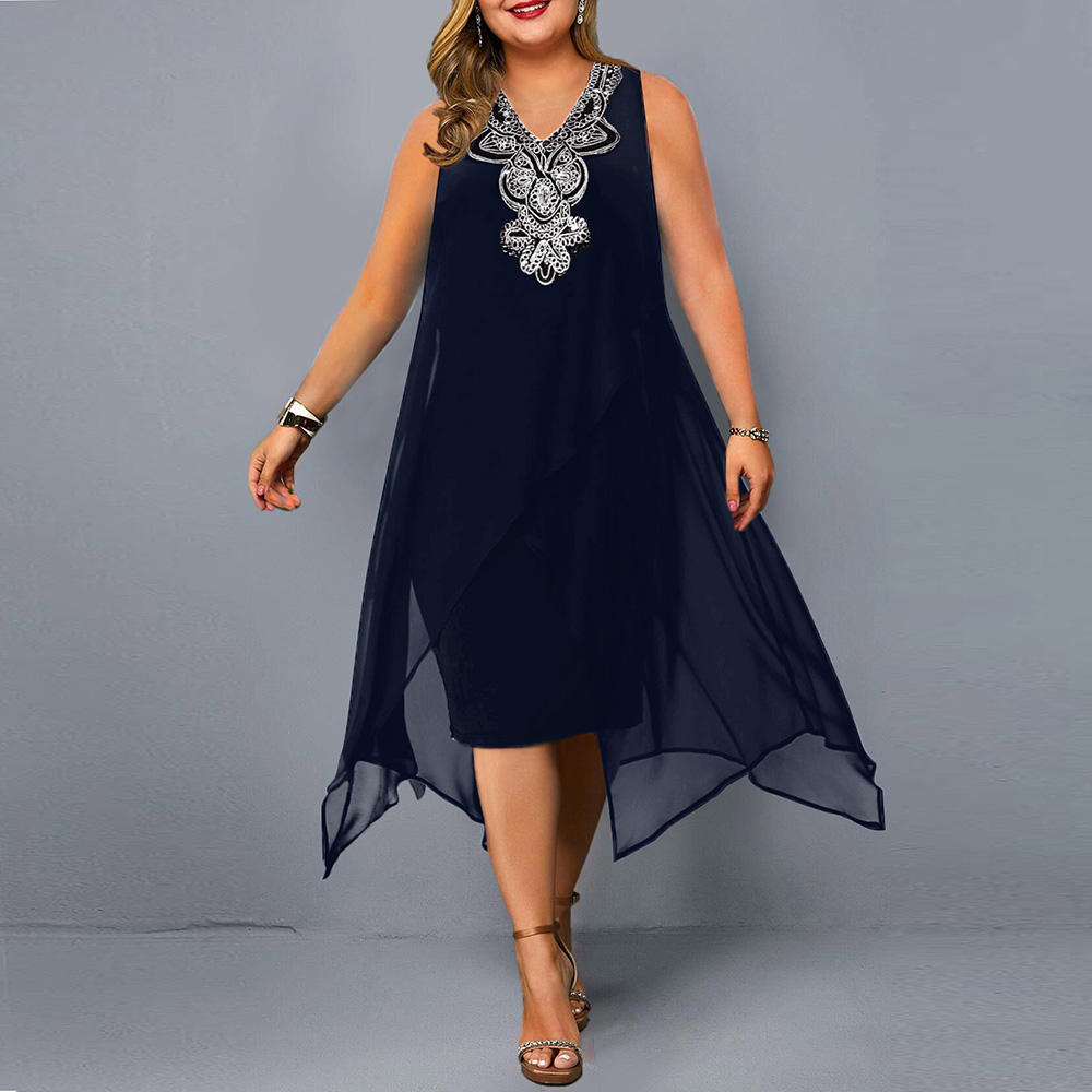 Plus Size Casual  Elegant Embroidery Sequin  4