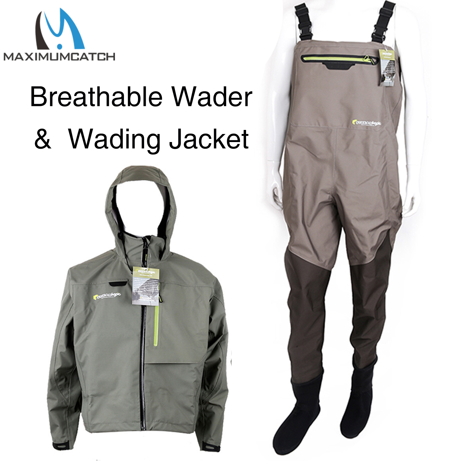 Pantalones impermeables para pesca con mosca transpirables con peso ligero para pie al aire libre
