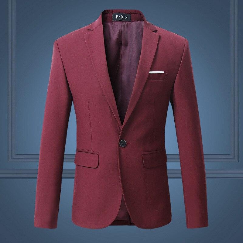 2018 New Style Handsome Solid Color Men Korean-style Trend Slim Fit Suit Red Elegant Fashion Leisure Suit